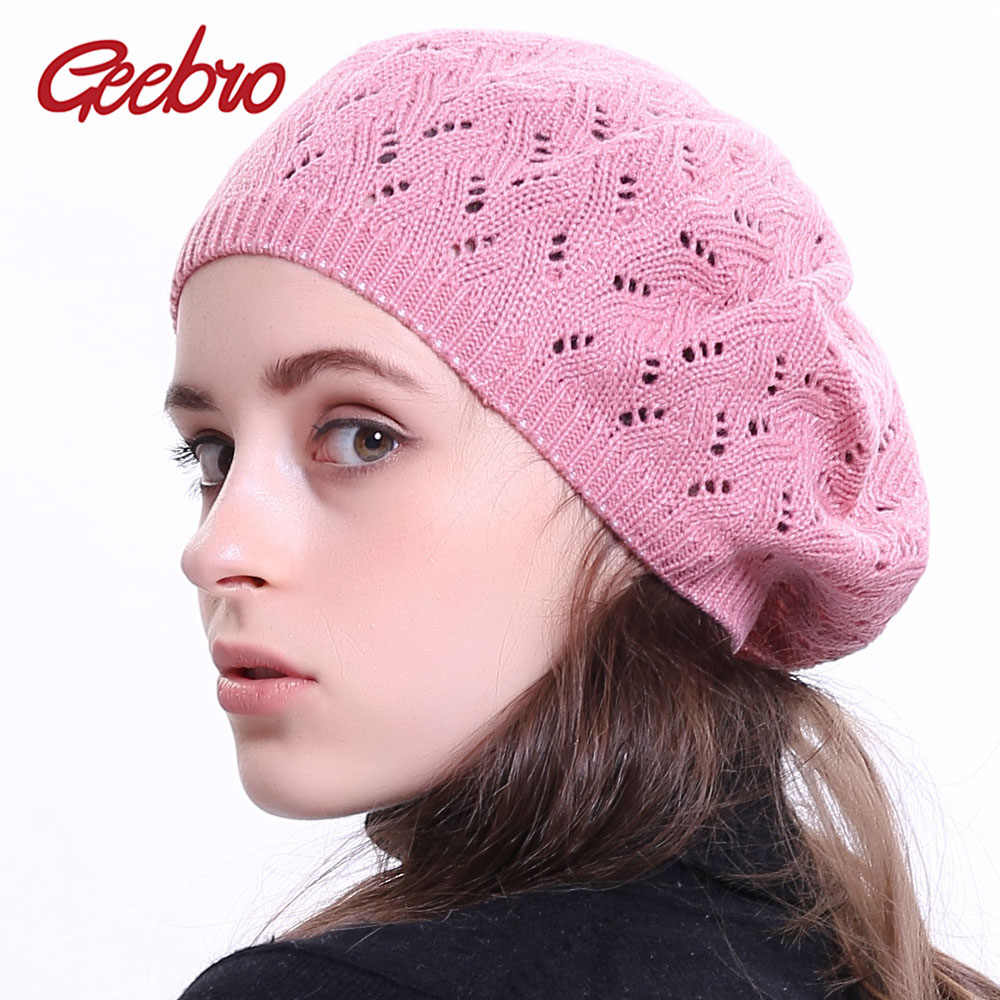 65158144397e1 Detail Feedback Questions about Geebro Women s Plain Color Knit Beret Hat  Ladies French Artist Beret Hats Spring Casual Thin Acrylic Berets for Women  Beanie ...