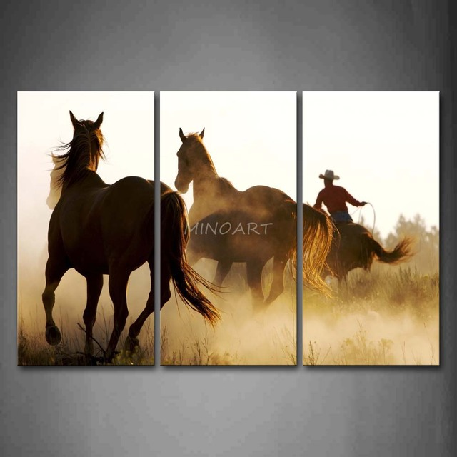 3 Piece Wall Art Painting Person Ride A Horse Run With Two Horses Print On Canvas