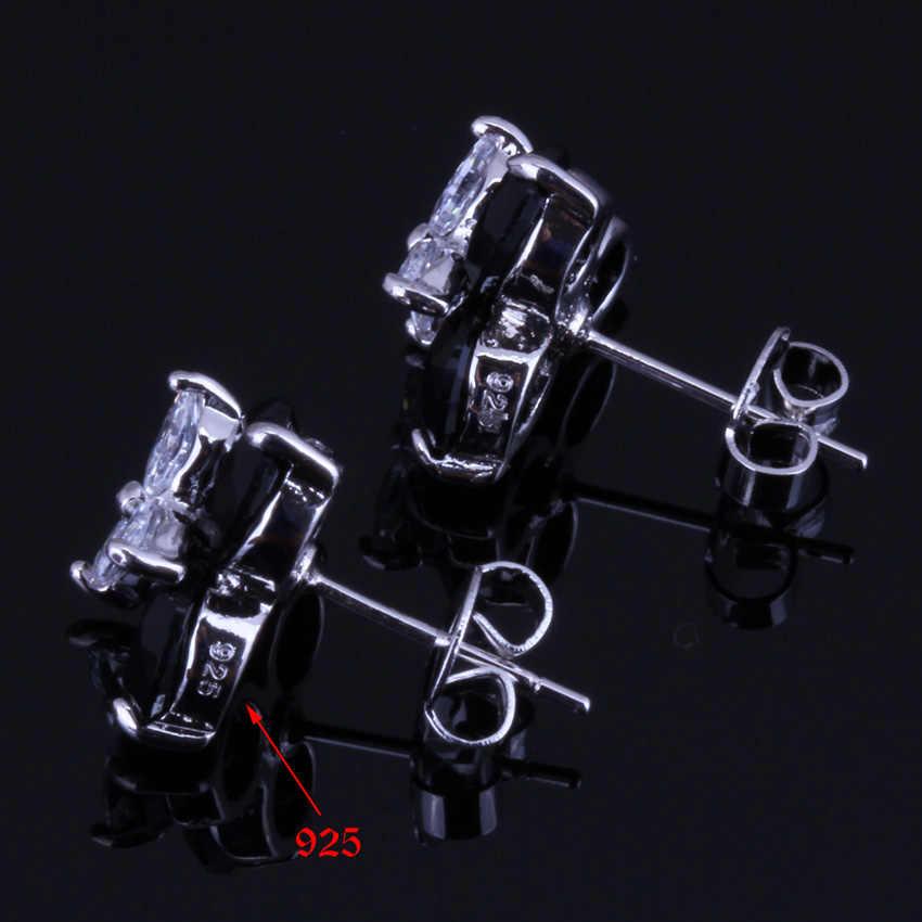 Gorąca sprzedaż! Czarny cyrkonia biały CZ 925 Sterling Silver zestawy biżuterii kolczyki wisiorek pierścień rozmiar 6 7 8 9 10 V0001