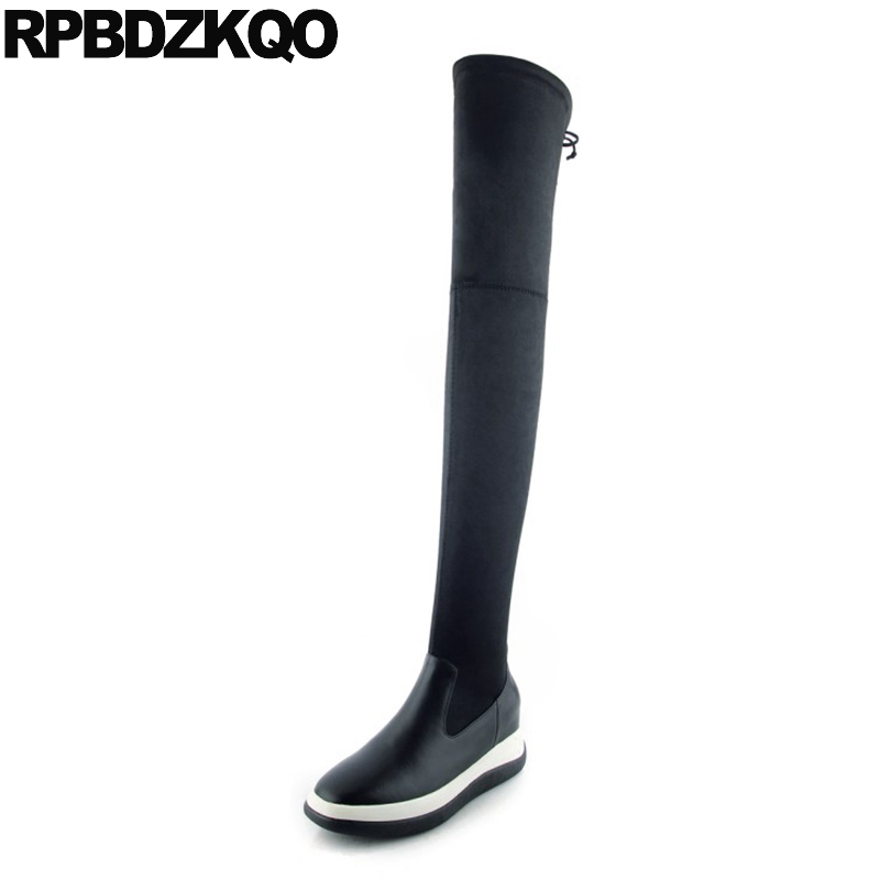 Stretch Over The Knee Thigh High Shoes Wedge Women Boots Winter 2017 Heel Genuine Leather Platform Height Increased Long Slim women over the knee boots black velvet long boots ladies high heel boots sexy winter shoes chunky heel thigh high boots