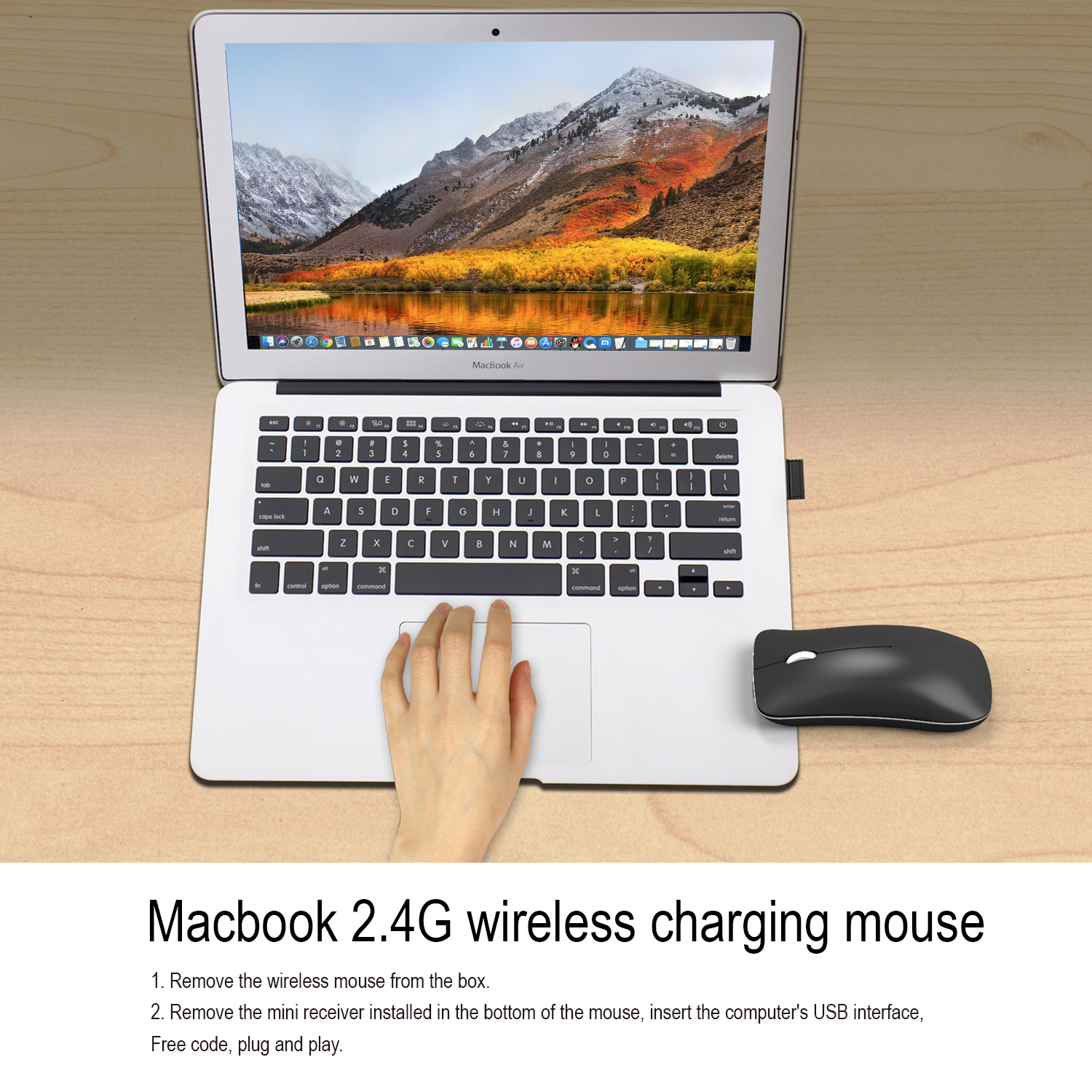 2.4G silent wireless mouse 1600dpi rechargeable office for PC laptop mac