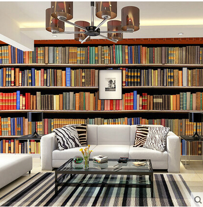 Large pvc self adhesive bookshelf wall murals wallpaper for Bookshelf mural wallpaper