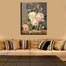 Noble Coloring by Numbers Flower Oil Painting on Canvas Wall Fashional Cool DIY Digital Decorative Picture
