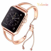 Yolovie Donne Fascia per Apple Osservare 38 millimetri 42 millimetri 40 millimetri 44 millimetri In Acciaio Cinturino In Acciaio del Metallo di Modo Del Braccialetto per iWatch Series5 4 3 2 1