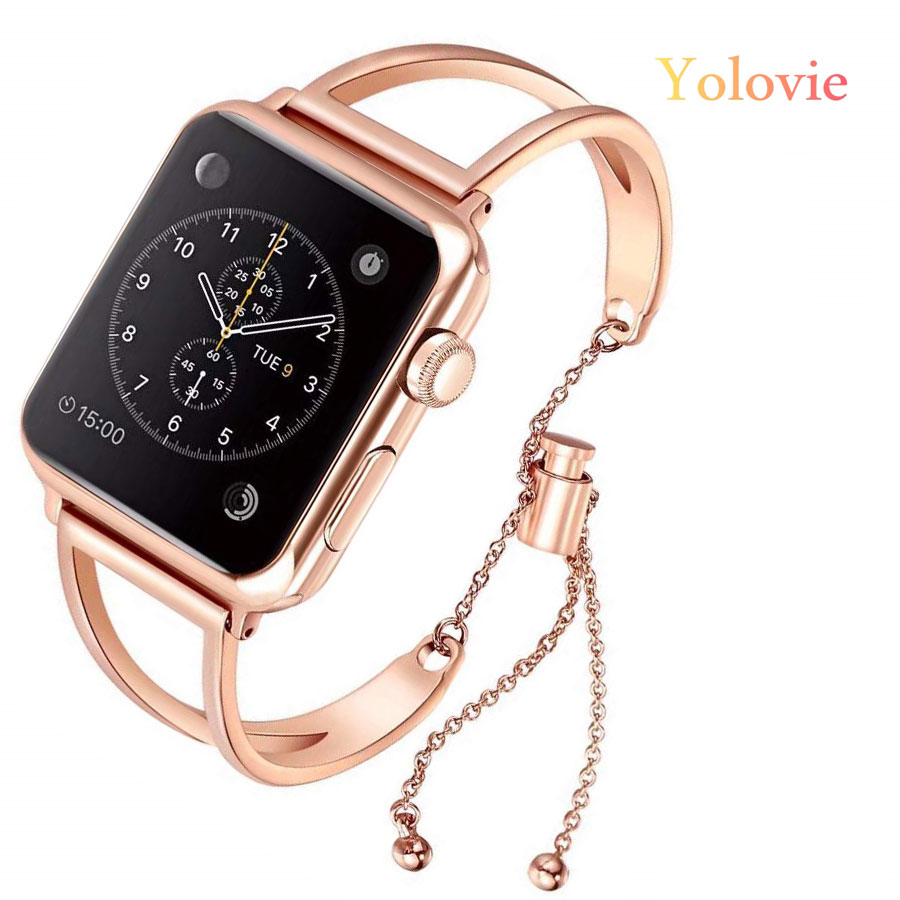 Yolovie Women Band For Apple Watch 38mm 42mm 40mm 44mm Stainless Steel Strap Fashion Metal Bracelet For IWatch Series5 4 3 2 1