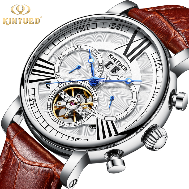 KINYUED Automatic Tourbillon Mechanical Watches Skeleton Watch Men Waterproof Sports Military horloges mannen Relogio Masculino winner skeleton mechanical watch luxury men black waterproof fashion casual military brand sports watches relogios masculino
