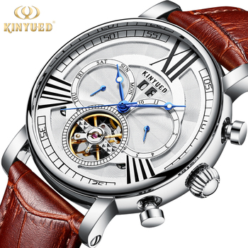 KINYUED Automatic Tourbillon Mechanical Watches Skeleton Watch Men Waterproof Sports Military horloges mannen Relogio Masculino