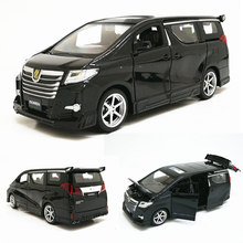 High simitation 1:32 Toyota Alphard MPV model alloy pull back car model 4 open the door with sound light kids toys free shipping(China)