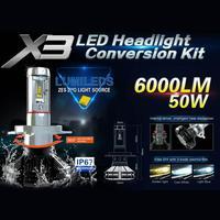 VODOOL Universal 2pcs Car Styling H4 LED Car Auto Headlight Head Lamp Bulbs Automobiles 6000K Light