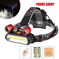 PROBE SHINY 2017 15000LM 2x XM-L T6 LED +COB USB Rechargeable 18650 Headlamp Head Light Torch Set Dropshipping #1101