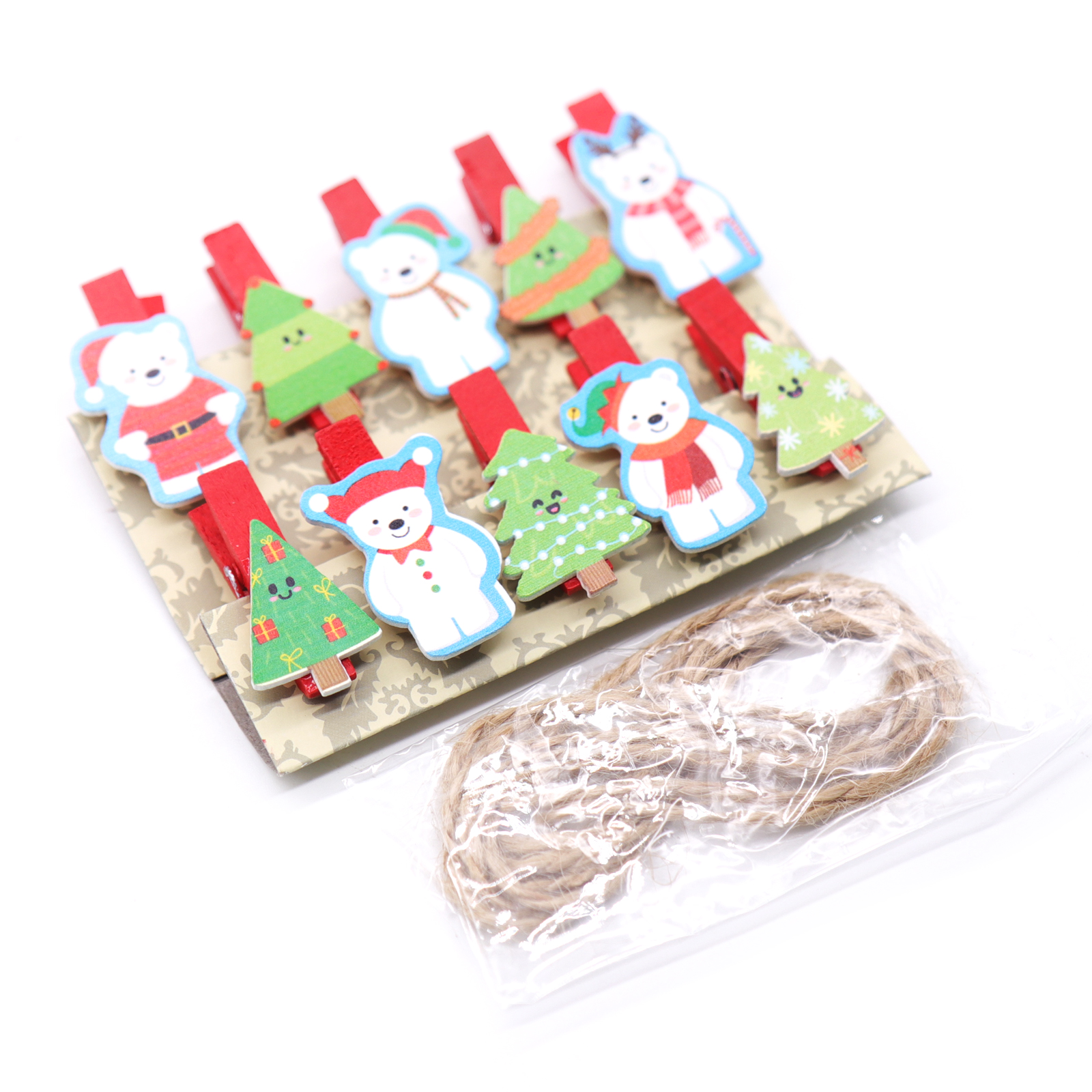 BITFLY 10pcs Christmas wood clips New year snack clips ...