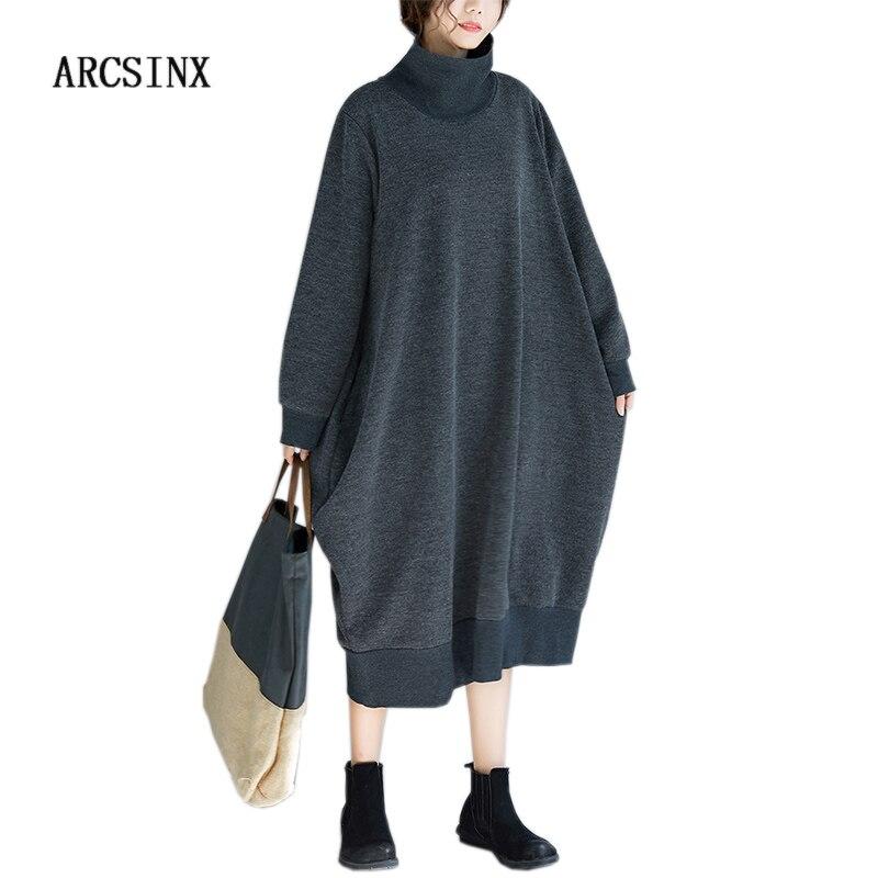 ARCSINX Turtleneck Dress Women Long Sleeve Autumn Spring Dress Women Plus Size 5XL 4XL Dark Grey Casual Women Dresses Large Size
