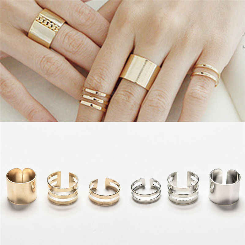 JETTINGBUY Trendy Rings Top Of Finger Over The Midi Tip Finger Above The Knuckle Open Ring For Women Gold Sliver Plated 3Pcs/Set