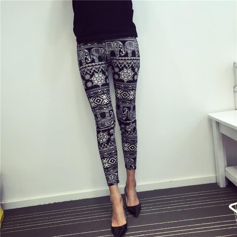 BIVIGAOS Spring Summer Womens Fashion Black Milk Thin Stretch leggings Colored Stars Graffiti Slim Skinny Leggings Pants Female 51
