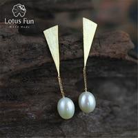 Lotus Fun реальные стерлингового серебра 925 натуральный жемчуг творческий ручной ювелирных украшений специальная треугольник серьги для женщи...