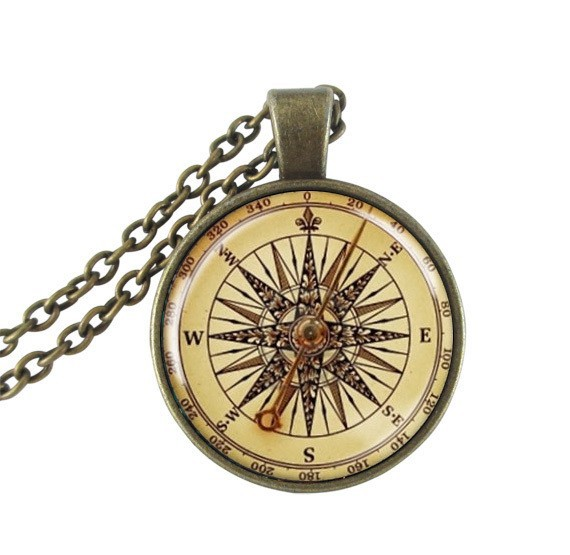 Vintage Compass Face Pendant Necklace Nautical Jewelry Bronze Long Glass Dome Gifts For Travel Lover Wholesale In Necklaces From