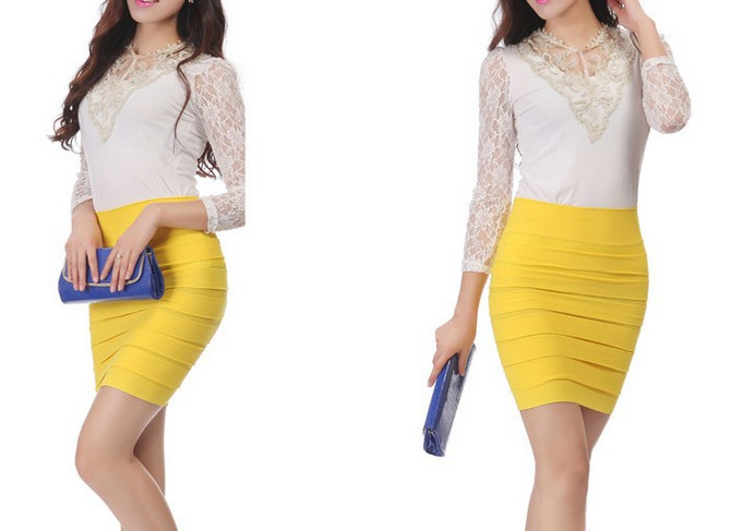 Free Shipping 2015 Fashion Women Summer Pleated Skirt Candy Color Ladies High Waist Skirts Plus Size Elastic A-line Skirt My C49