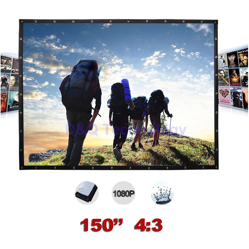150 inches 4:3 Portable Wall Mounted Matt White Canvas Folding Outdoor Projector Screen for LED LCD HD Movie Projection Display fast free shipping 100 4 3 tripod portable projection screen hd floor stand bracket projector screen matt white factory supply