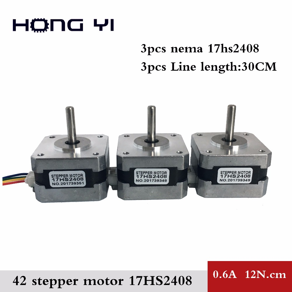 Free shipping and Quality 3pcs 17HS2408 4-lead Nema 17 Stepper Motor 42 motor 42BYGH 0.6A CE ROSH ISO CNC Laser and 3D printer