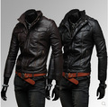 The new men's casual leather hooded short paragraph Slim l multi-pocket motorcycle jacket
