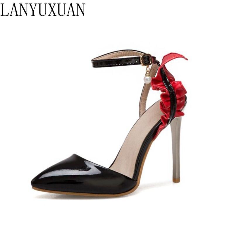 LANYUXUAN  Elegant fashion Super Small Big Size 31-50 sandals Shoes Woman Zapatos Mujer Pumps Valentine Party wedding shoes T265 lanyuxuan 2017 new fashion big