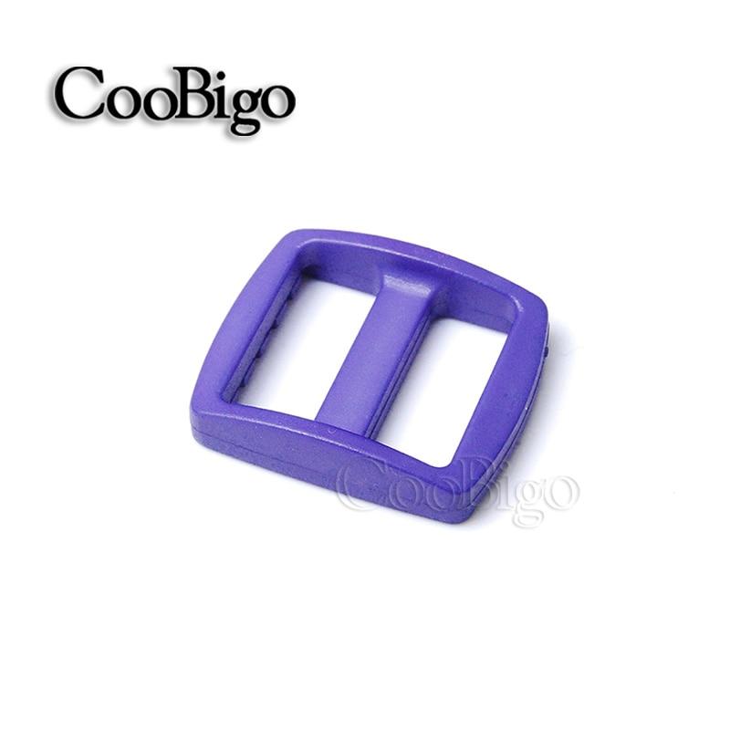 """10 шт Упаковка многоцветные пластиковые изогнутые Tri Glide 3/""""(20 мм) слайдер лямки регулировать пряжки широкий стиль походный рюкзак ремни - Цвет: Purple"""