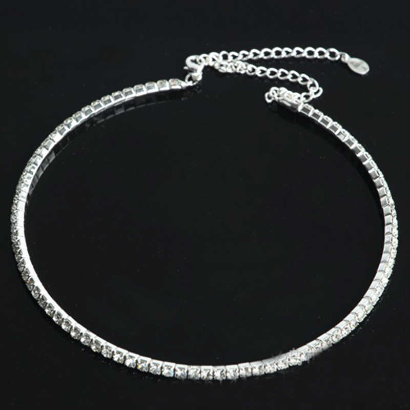 XIAOJINGLING 1Row Diamante Clear Crystal Rhinestone Wedding Bridal Choker Necklace Sparkling Bib Collar Chain For Party Jewelry