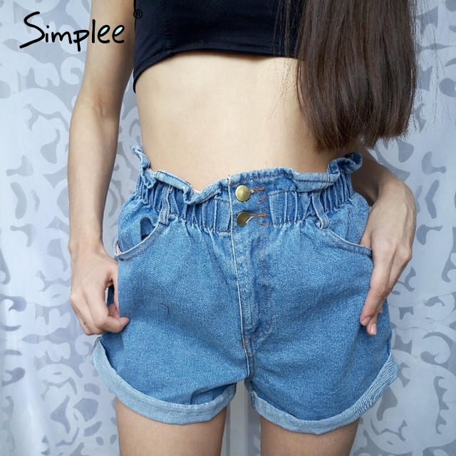 Simplee Casual black hemming denim shorts women Button summer beach 2017 high waist shorts Pocket blue jeans shorts female