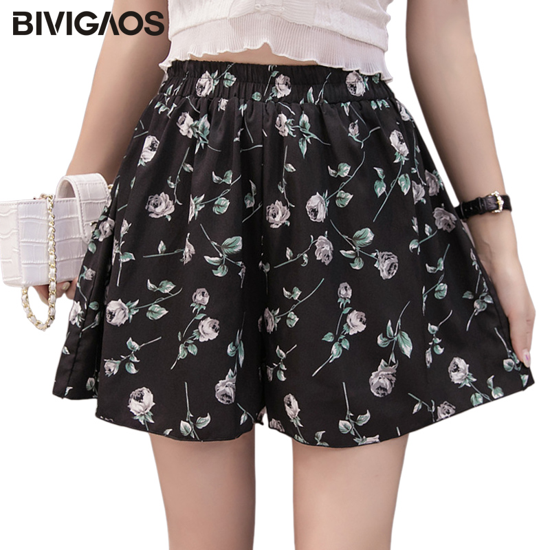 BIVIGAOS Summer New Women's Printed Chiffon Shorts High Waist Loose Skirt Shorts Korean Casual Wide Leg Shorts Women Clothing