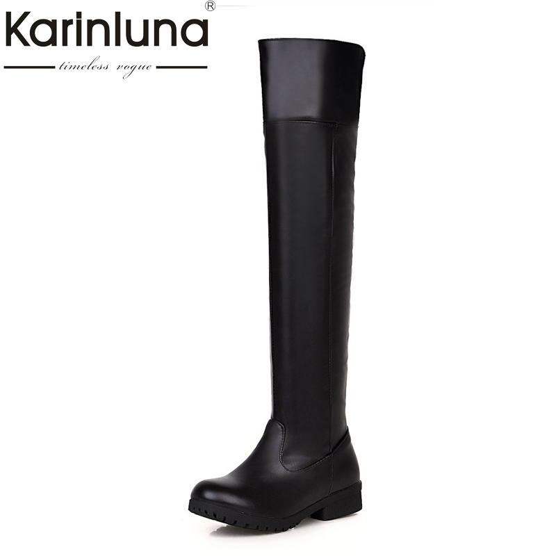 KARINLUNA 2017 Large Size 34-48 Platform Black Women Shoes Woman Slip On Square Heels Over The Knee Boots Add Warm Fur karinluna large size 34 43 add fur knee boots fashion winter shoes women lace round toe platform flat heels shoes woman