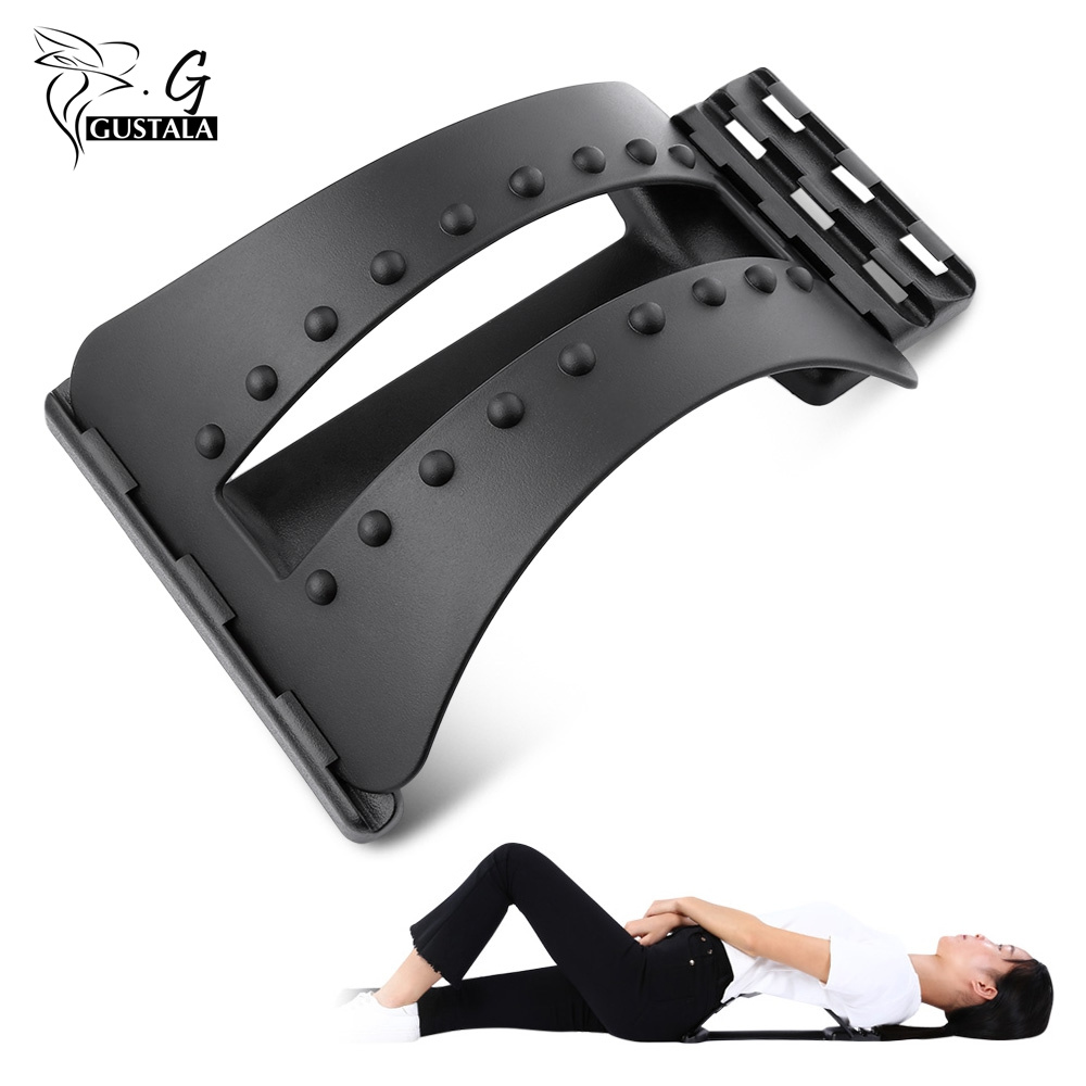Gustala Back Massager Stretcher Fitness Massage Equipment Stretch Relax Stretcher Lumbar Support Spine Pain Relief Chiropractic