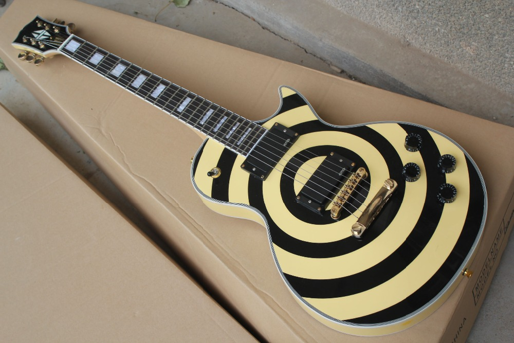 china custom guitar factory custom top quality lp zakk wylde black yellow electric guitar emg. Black Bedroom Furniture Sets. Home Design Ideas