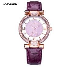 SINOBI Fashion Women Wrist Watches Luxury Brand Leather Watchband Diamond Ladies Quartz Clock Female Wristwatches 2017
