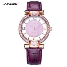 Moda SINOBI Relógios de Pulso Das Mulheres Marca de Luxo Pulseira de Couro Diamante Relógio de Quartzo Das Senhoras relógios de Pulso Femininos 2017 G31