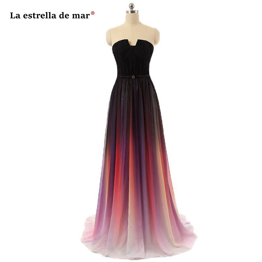 La Estrella De Mar Long Dress For Wedding Party For Woman SALE Chiffon Off The Shoulder Back Line A Line Red Blue Gray Bridesmai
