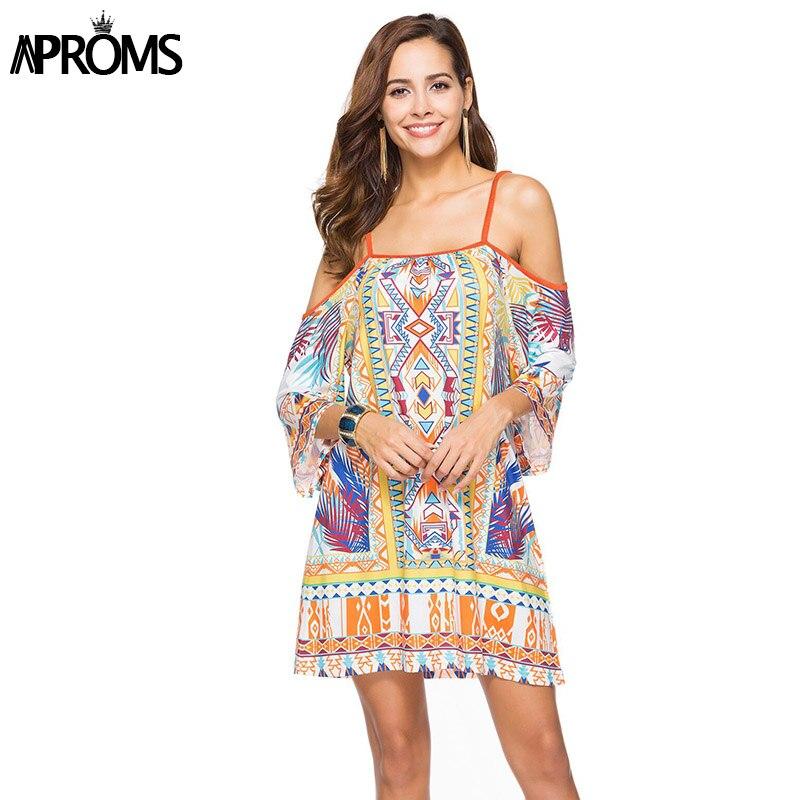 Aproms Boho Print Elegant Women Summer Dress 2018 Street Fashion Off Shoulder Dashiki Tunic Dresses Sundress European Vestidos