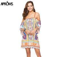 Aproms Boho Print Elegant Women Summer Dress 2019 Street Fashion Off Shoulder Dashiki Tunic Dresses Sundress European Vestidos
