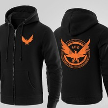 Mens Casual 2016 Game Tom Clancy's The Division SHD Logo Hoodies Zip Up Cotton Printing Pattern Coats Sweatshirts
