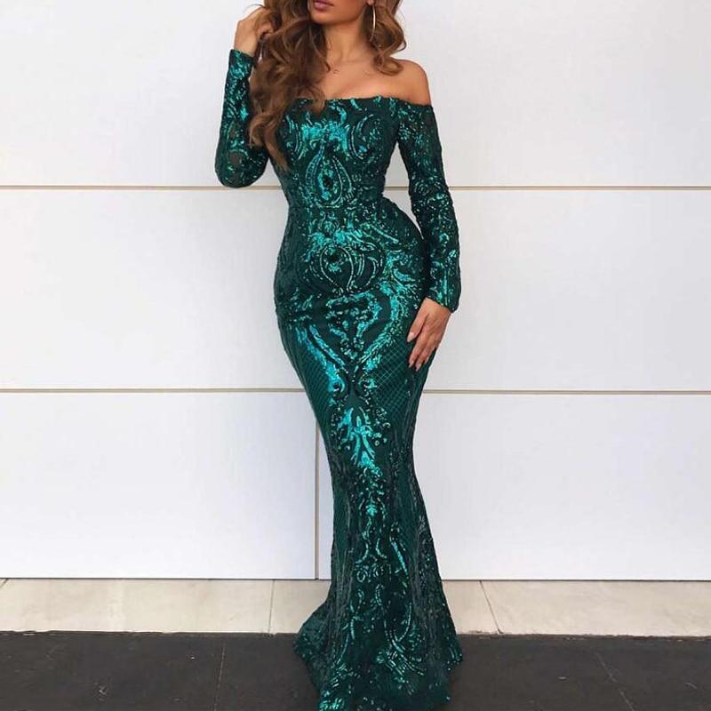 2019 Elegant Slash Neck Green Sequined Prom Dress Full Sleeved Stretch Long Floor Length  Evening Gown Robe