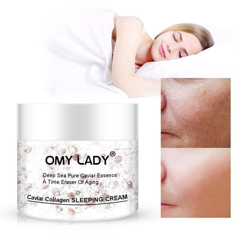Natural Caviar Collagen Night Cream Facial Moisturizer Sleeping Cream Skin Moisturizing Soothing Skin Care
