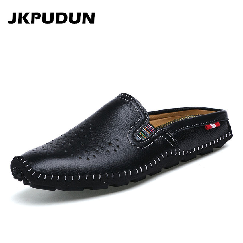 JKPUDUN Summer Half Shoes For Men Loafers Luxury Brand Italian Casual Shoes Men Genuine leather Slipon Breathable Shoes Zapatos caterham 7 csr