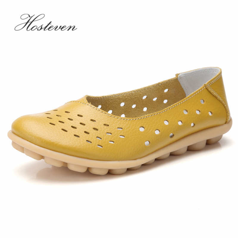 Hosteven Women Shoes Sneaker Flats Moccasins Loafers Genuine Leather Shoes Spring Autumn Female Casual Ladies Leather Footware