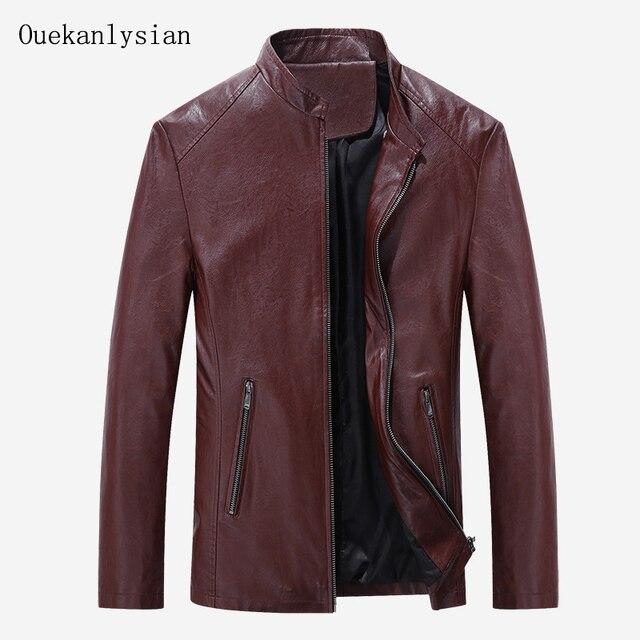 Mandarin Collar Leather Jacket Men Slim Fit Casual Zipper Motorcycle Jacket Biker Suede Jacket Jaqueta Blouson Cuir Homme Red