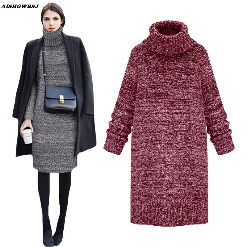 AISHGWBSJ Women Sweater Dresses Winter Long Knitted Turtleneck Sweaters Solid Slim Warm Dress Pullover Tops QYX57