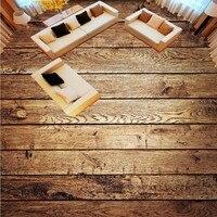 Free Shipping Custom Flooring Moisture Proof Non Slip Wallpaper Mural 3D Retro Nostalgic Wood Living Room