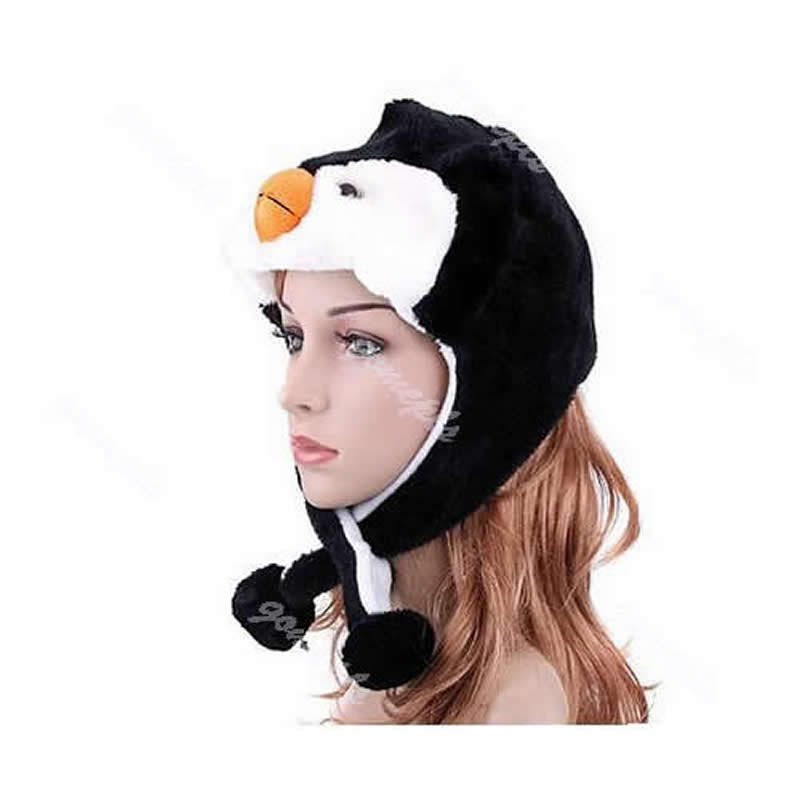 Cartoon Animal Penguin Mascot Plush Warm Cap Hat Warmer New Apparel Accessories Women's Bomber Hats