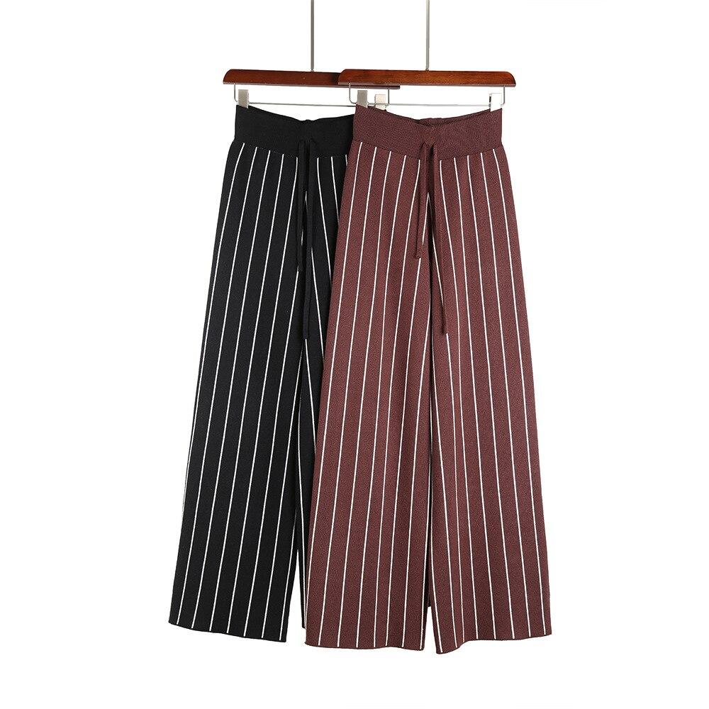 Stripe wide leg   pants   women straight   pants   loose trousers high waist   capris   fashion Pantalones drawstring bottoms Palazzo   Pants