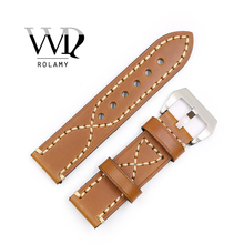 Rolamy Watch Band 20 22 24 26mm Leather Strap For Tag CARRERA Omega Montblanc Panerai Daytona Submariner Tissot Watchbands