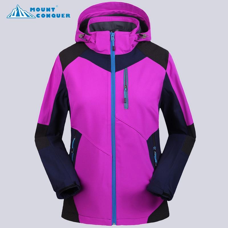 все цены на Women Trekking Rain Coat Windproof Waterproof Jacket Women's Ski Suit Winter Fleece Softshell Outdoor Camping Jackets For онлайн