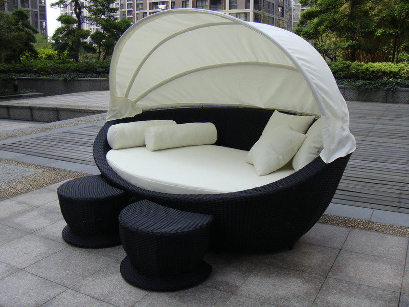 cane garden daybed with tea coffee table wicker oval daybed transport by sea in sun loungers from furniture on aliexpresscom alibaba group